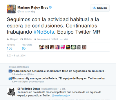 Mariano Rajoy No Bots Reputación Digital